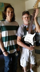 niel and robert with the new guitar